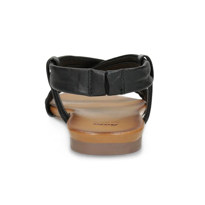 Czarne skórzane sandały damskie bata, czarny, 566-6635 - 15