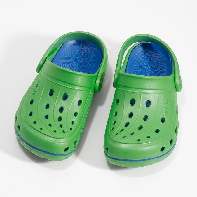 Zielone sandały dziecięce wstylu chodaków coqui, zielony, 372-7656 - 16