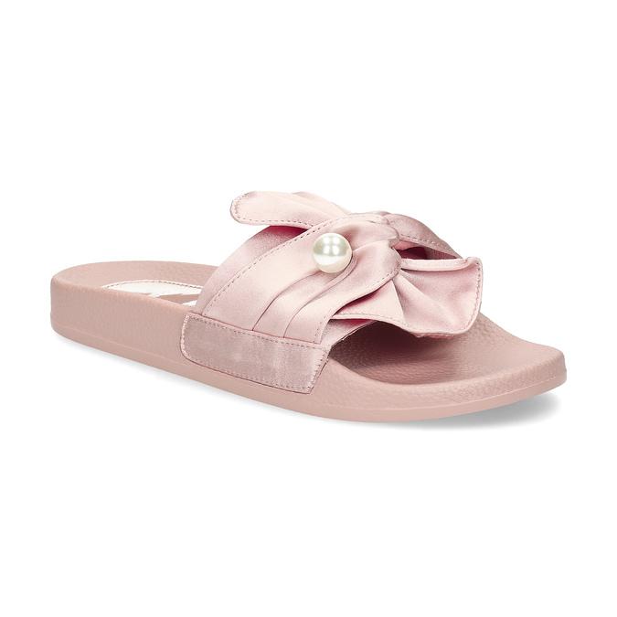 Różowe satynowe klapki zperełkami bata, różowy, 569-5615 - 13
