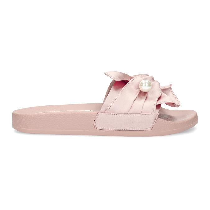Różowe satynowe klapki zperełkami bata, różowy, 569-5615 - 19