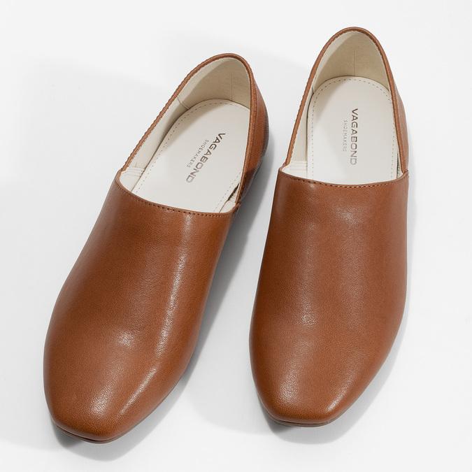Brązowe skórzane slip-on damskie vagabond, brązowy, 514-4096 - 16