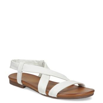 Białe skórzane sandały damskie bata, biały, 566-1635 - 13