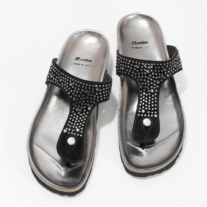 Skórzane japonki damskie zkryształkami bata, czarny, 566-6650 - 16