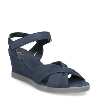 Granatowe skórzane sandały na koturnach flexible, niebieski, 666-9617 - 13