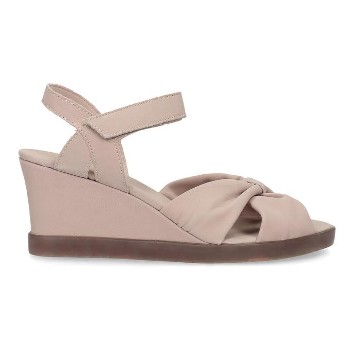 Beżowe skórzane sandały na koturnach flexible, beżowy, 666-5617 - 19