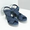 Granatowe skórzane sandały na koturnach flexible, niebieski, 666-9617 - 26