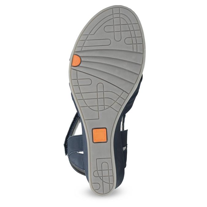 Granatowe skórzane sandały na koturnach flexible, niebieski, 666-9617 - 18