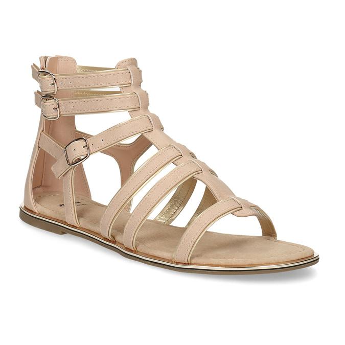 Beżowe sandały damskie typu gladiatorki bata, 561-8620 - 13
