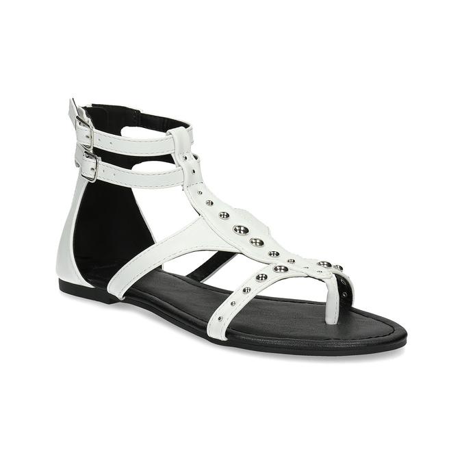 Białe sandały damskie zćwiekami bata, biały, 561-1613 - 13