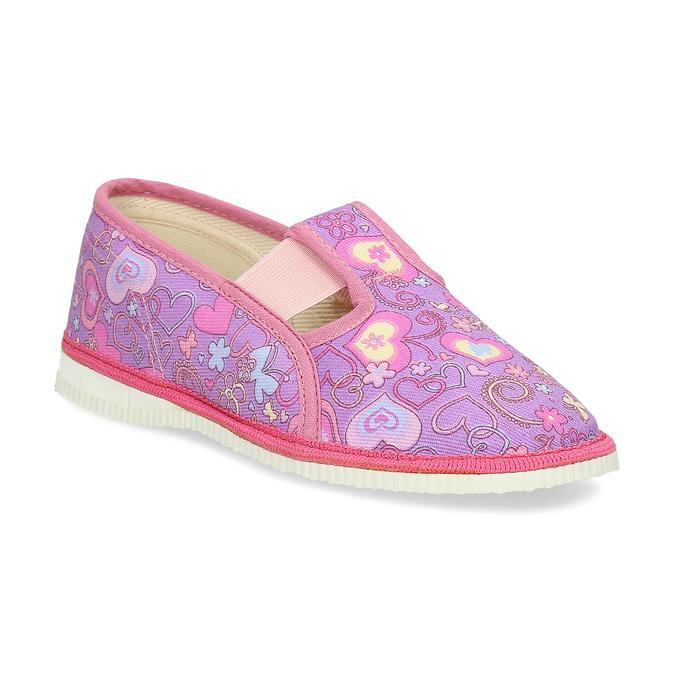 Różowe wzorzyste kapcie dziecięce bata, różowy, 379-5218 - 13