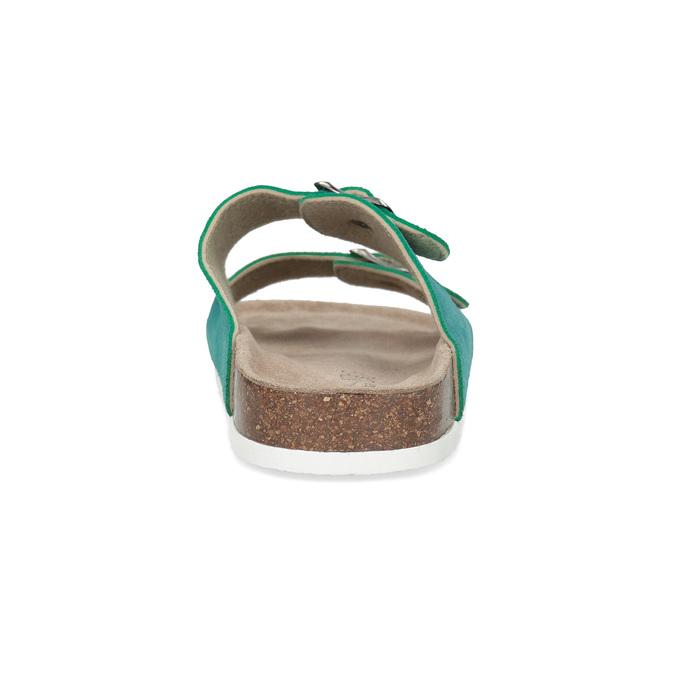 Turkusowe skórzane klapki damskie de-fonseca, 573-9621 - 15