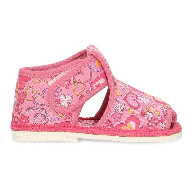 Różowe wzorzyste kapcie dziecięce za kostkę bata, różowy, 179-5212 - 19