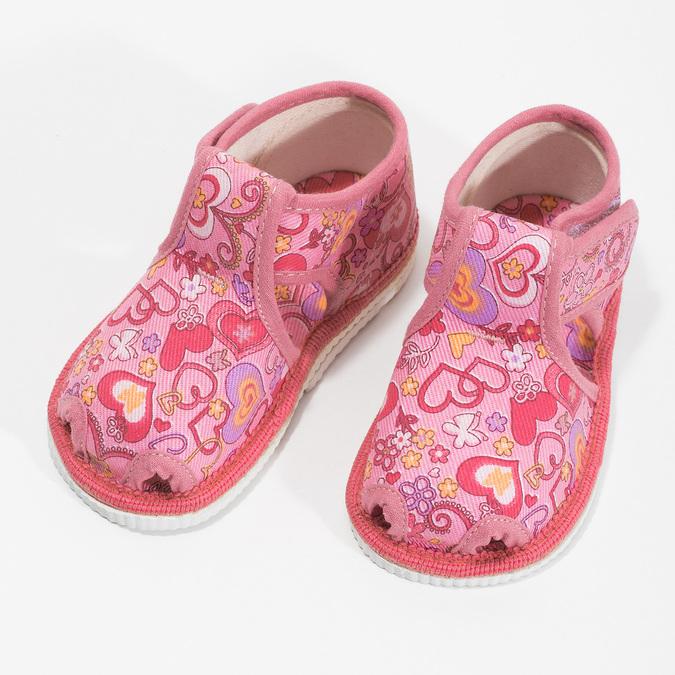 Różowe wzorzyste kapcie dziecięce za kostkę bata, różowy, 179-5212 - 16