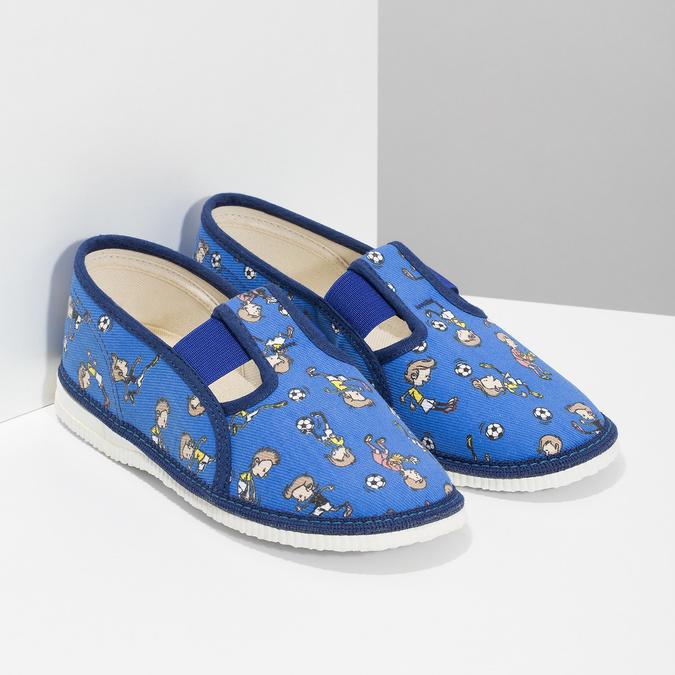 Granatowe wzorzyste kapcie dziecięce bata, niebieski, 179-9213 - 26