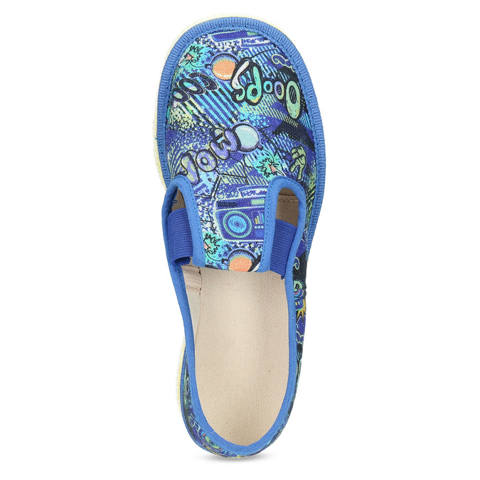 Niebieskie wzorzyste kapcie dziecięce bata, niebieski, 379-9125 - 17