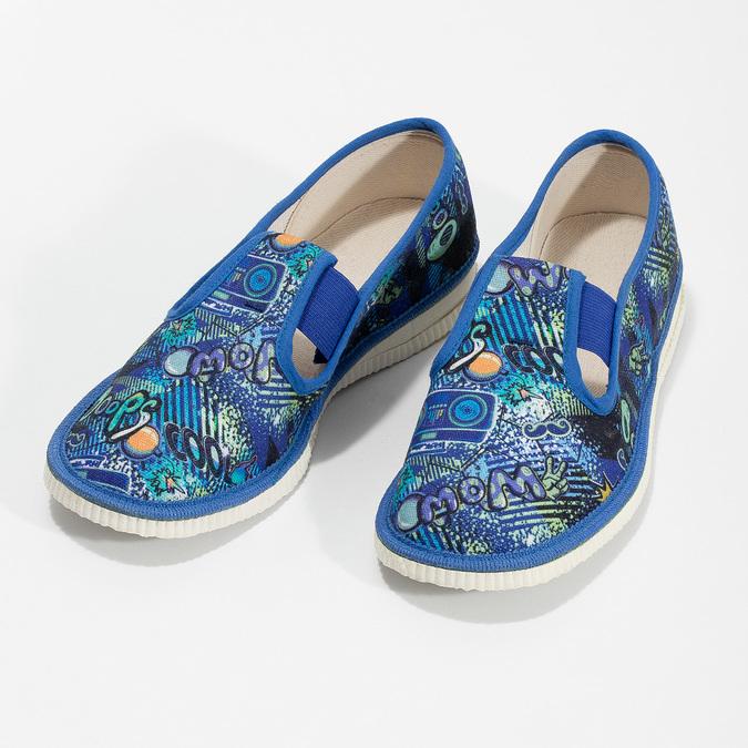 Niebieskie wzorzyste kapcie dziecięce bata, niebieski, 379-9125 - 16