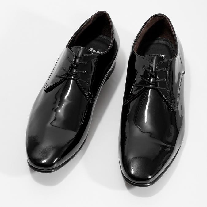 Skórzane lakierowane półbuty męskie typu angielki bata, czarny, 828-6606 - 16