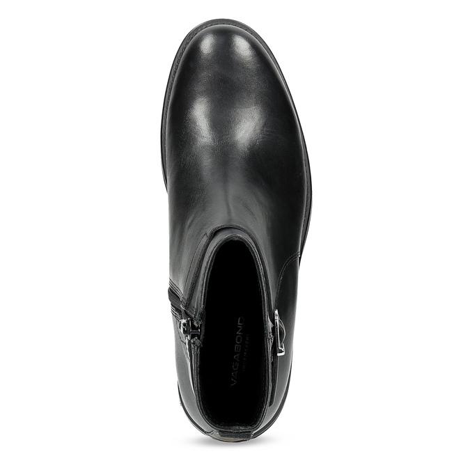 Skórzane botki damskie zklamrami vagabond, czarny, 514-6140 - 17