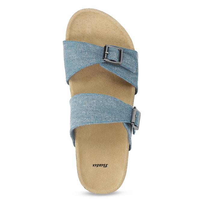 Niebieskie korkowe klapki damskie bata, niebieski, 579-9625 - 17