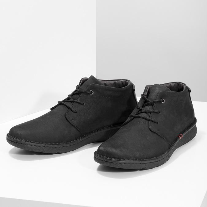 Czarne skórzane obuwie męskie za kostkę bata, czarny, 846-6716 - 16