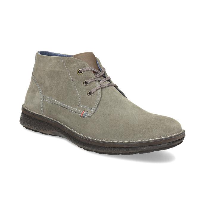 Skórzane obuwie męskie za kostkę, zprzeszyciami bata, szary, 843-2640 - 13