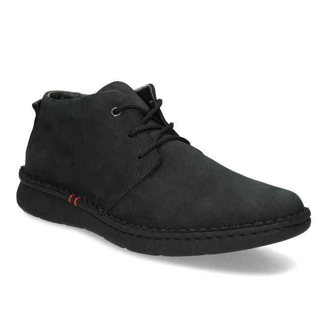 Czarne skórzane obuwie męskie za kostkę bata, czarny, 846-6716 - 13