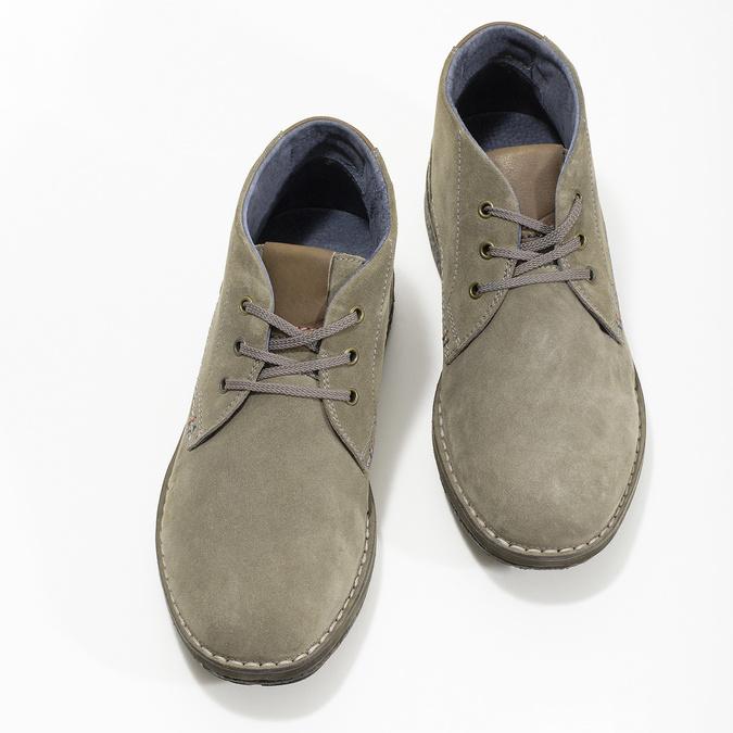 Skórzane obuwie męskie za kostkę, zprzeszyciami bata, szary, 843-2640 - 16