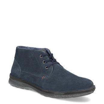 Granatowe skórzane obuwie męskie za kostkę bata, niebieski, 843-9640 - 13
