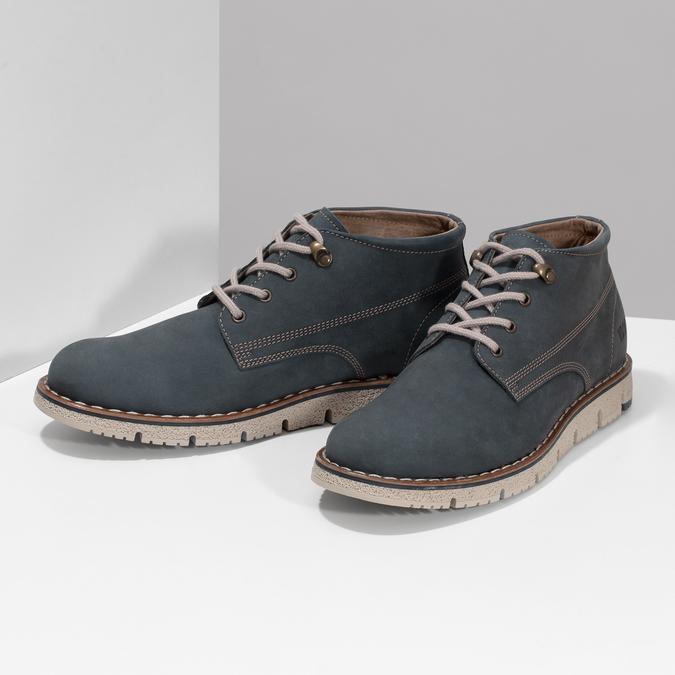 Niebieskie skórzane obuwie męskie za kostkę weinbrenner, niebieski, 846-9658 - 16