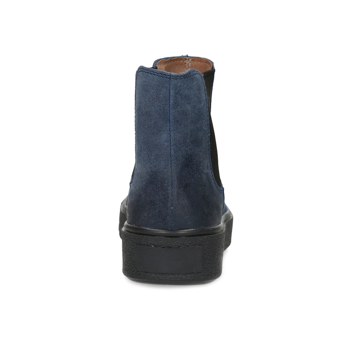 Granatowe skórzane obuwie damskie typu chelsea bata, niebieski, 596-9713 - 15