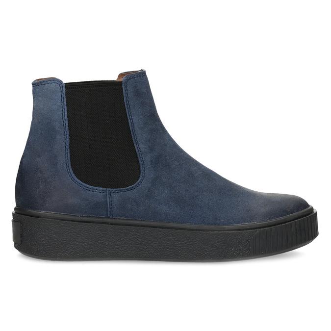 Granatowe skórzane obuwie damskie typu chelsea bata, niebieski, 596-9713 - 19