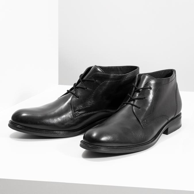 Skórzane obuwie męskie za kostkę bata, czarny, 824-6893 - 16