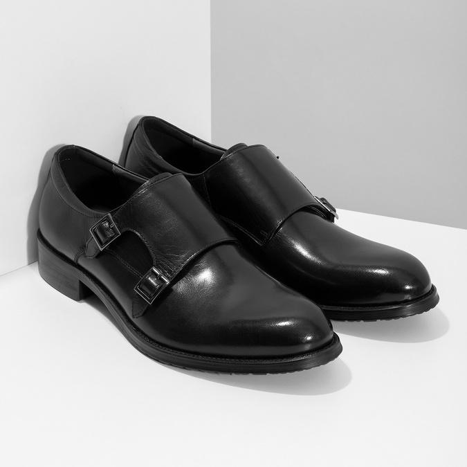 Męskie buty typu Monk z czarnej skóry bata, czarny, 824-6632 - 26