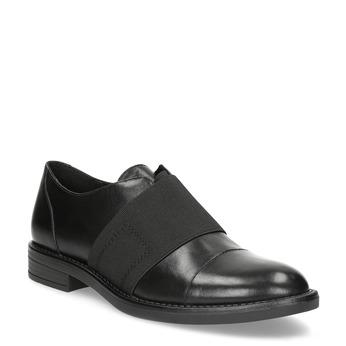 Skórzane półbuty damskie zelastycznymi paskami bata, czarny, 514-6602 - 13