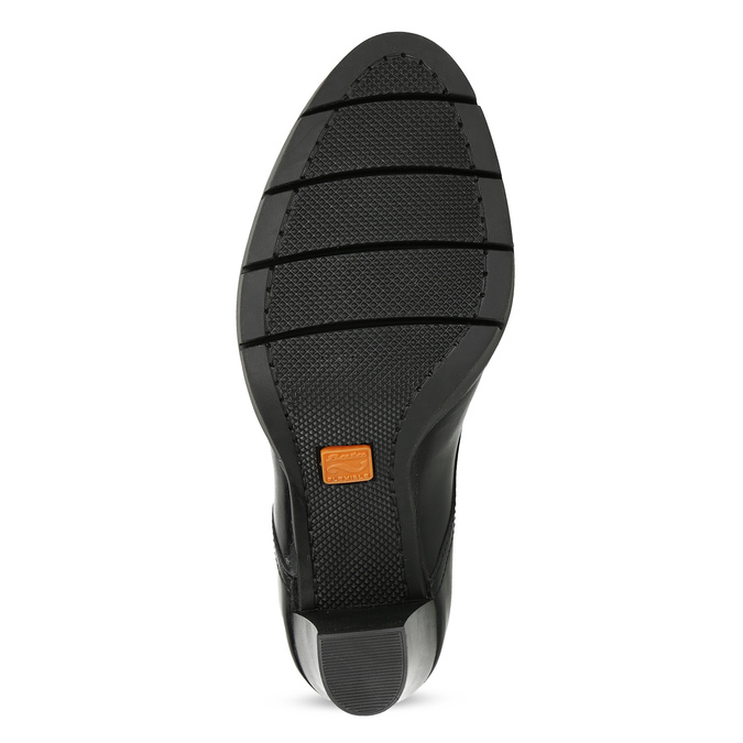 Skórzane półbuty damskie na obcasie flexible, czarny, 724-6653 - 18