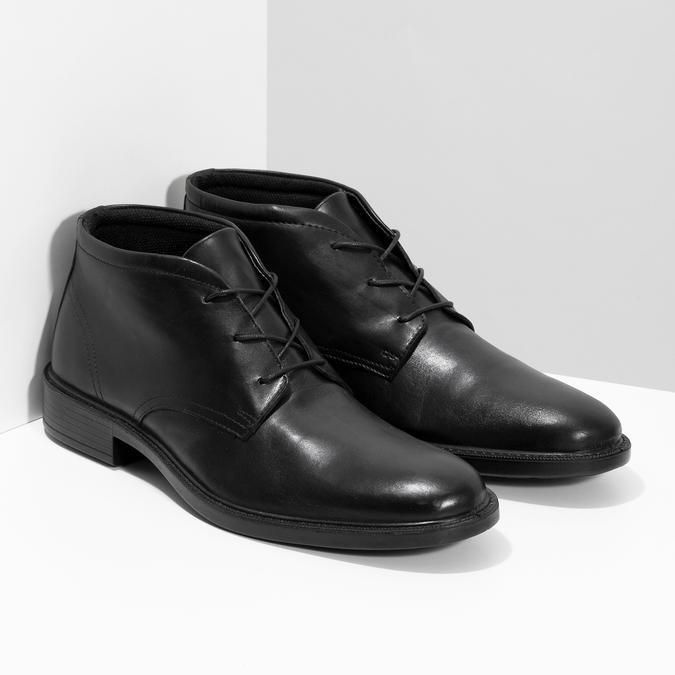 Czarne buty męskie za kostkę zgładkiej skóry comfit, czarny, 824-6822 - 26