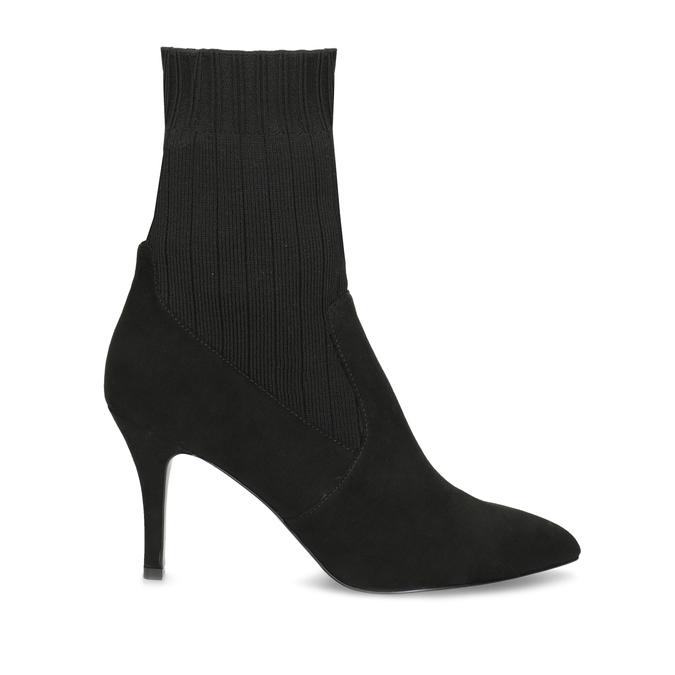 Czarne kozaki skarpetkowe na szpilkach bata, czarny, 799-6640 - 19
