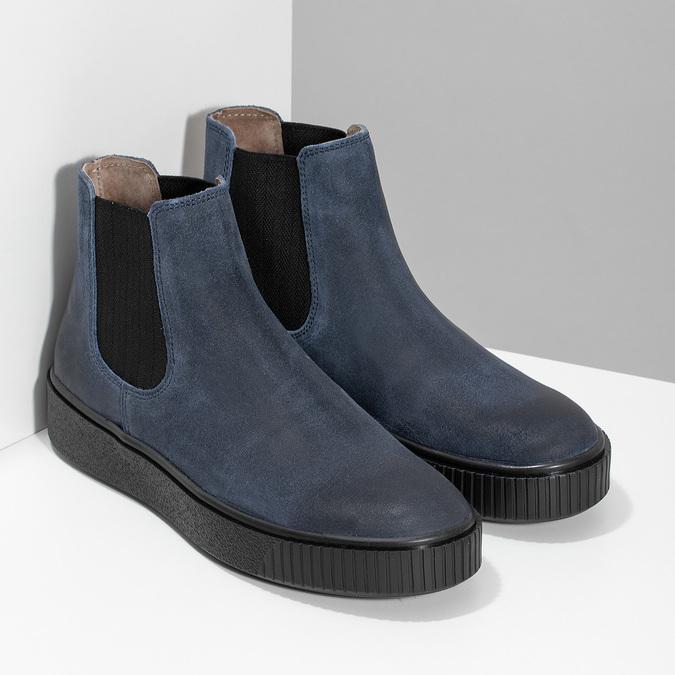 Granatowe skórzane obuwie damskie typu chelsea bata, niebieski, 596-9713 - 26