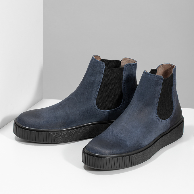 Granatowe skórzane obuwie damskie typu chelsea bata, niebieski, 596-9713 - 16