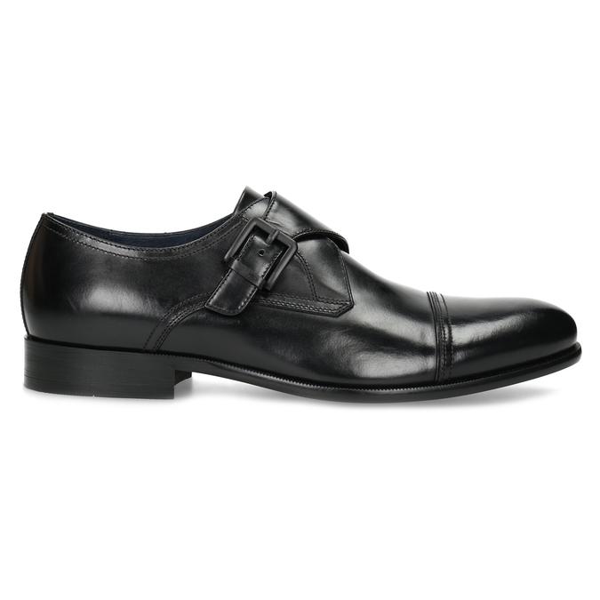 Czarne skórzane półbuty męskie zklamrami bata, czarny, 824-6610 - 19