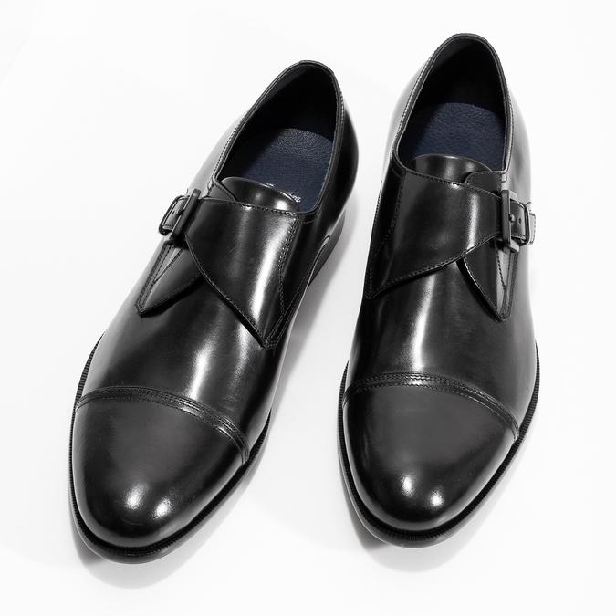 Czarne skórzane półbuty męskie zklamrami bata, czarny, 824-6610 - 16