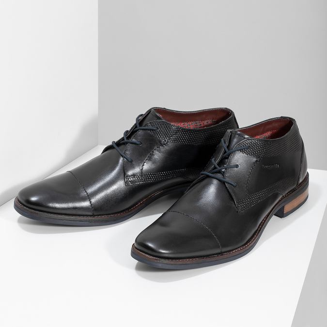 Czarne skórzane półbuty bugatti, czarny, 826-6052 - 16