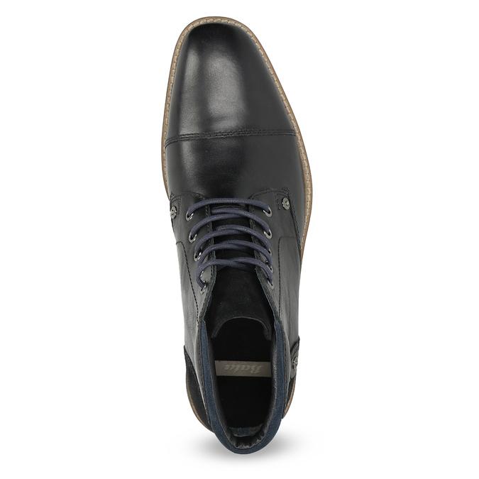 Skórzane obuwie męskie za kostkę bata, czarny, 826-6611 - 17
