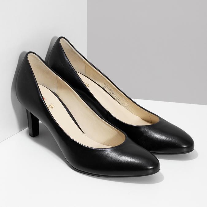 Czarne skórzane czółenka damskie hogl, czarny, 724-6085 - 26