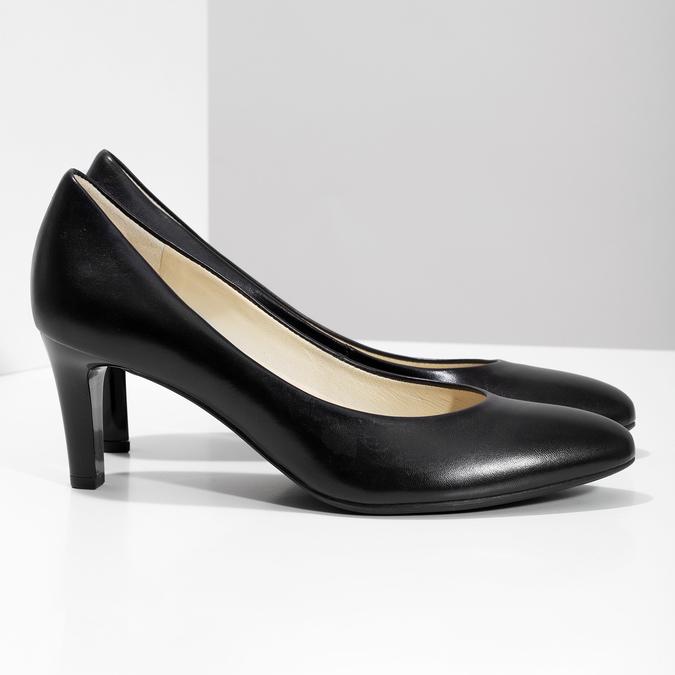Czarne skórzane czółenka damskie hogl, czarny, 724-6085 - 16