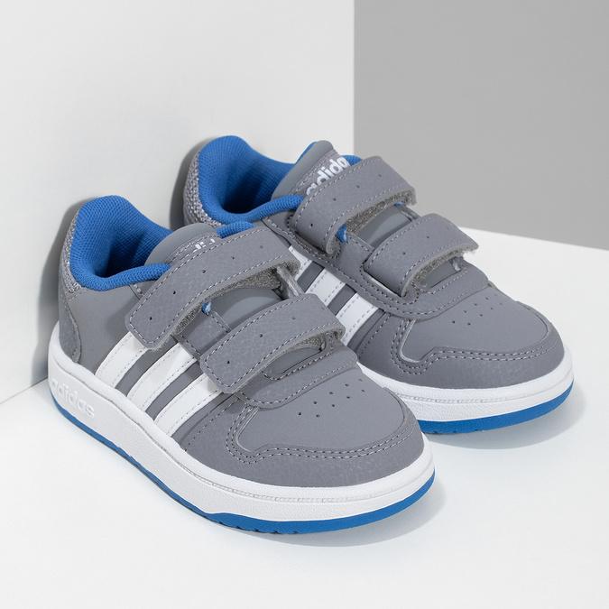 Szare trampki dziecięce zniebieskimi elementami adidas, szary, 101-2194 - 26