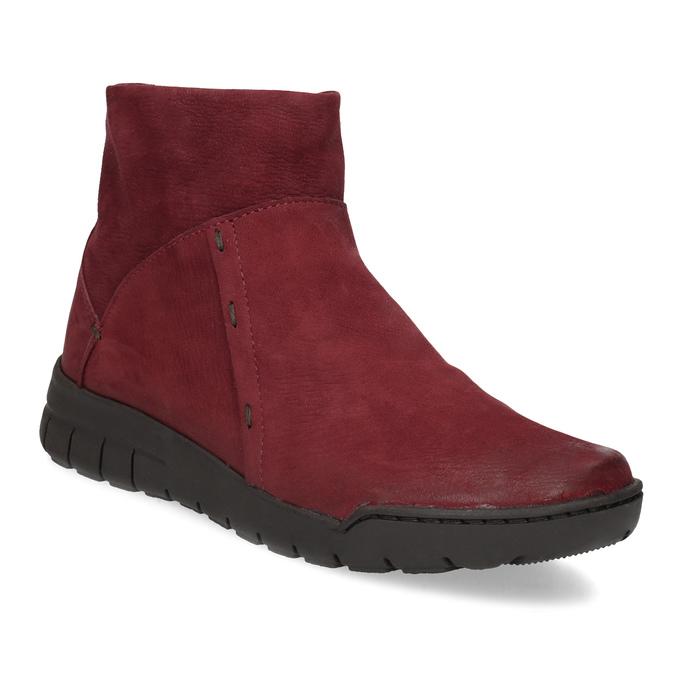 Czerwone skórzane botki bata, czerwony, 596-5706 - 13