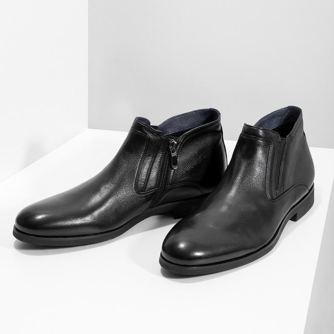 Skórzane obuwie męskie za kostkę, zprzeszyciami bata, czarny, 824-6621 - 16