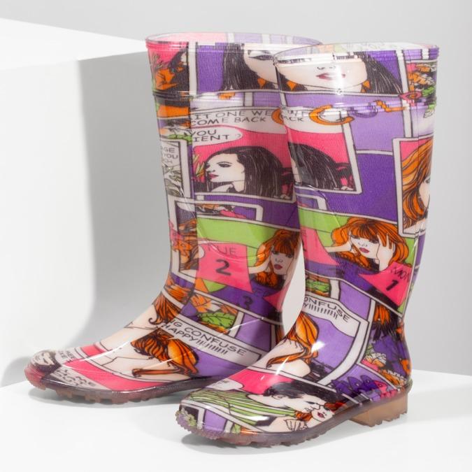 Komiksowe kalosze damskie bata, multi color, 592-0606 - 16