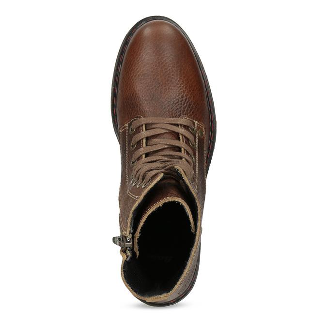 Brązowe skórzane botki damskie bata, brązowy, 596-4732 - 17